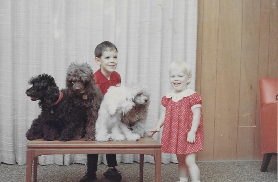 Janet and David with the dogs Christmas 1967